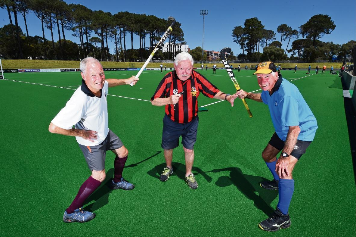 Simon Thomson (Hips), John Sanders (umpire) and Bob Bowyer (Knees). Picture: Jon Hewson