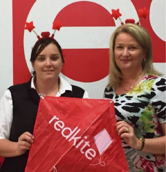 Coles manager Ashlee Moore and Mandurah Mayor Marina Vergone launch the Redkite Christmas Card Donation Campaign.