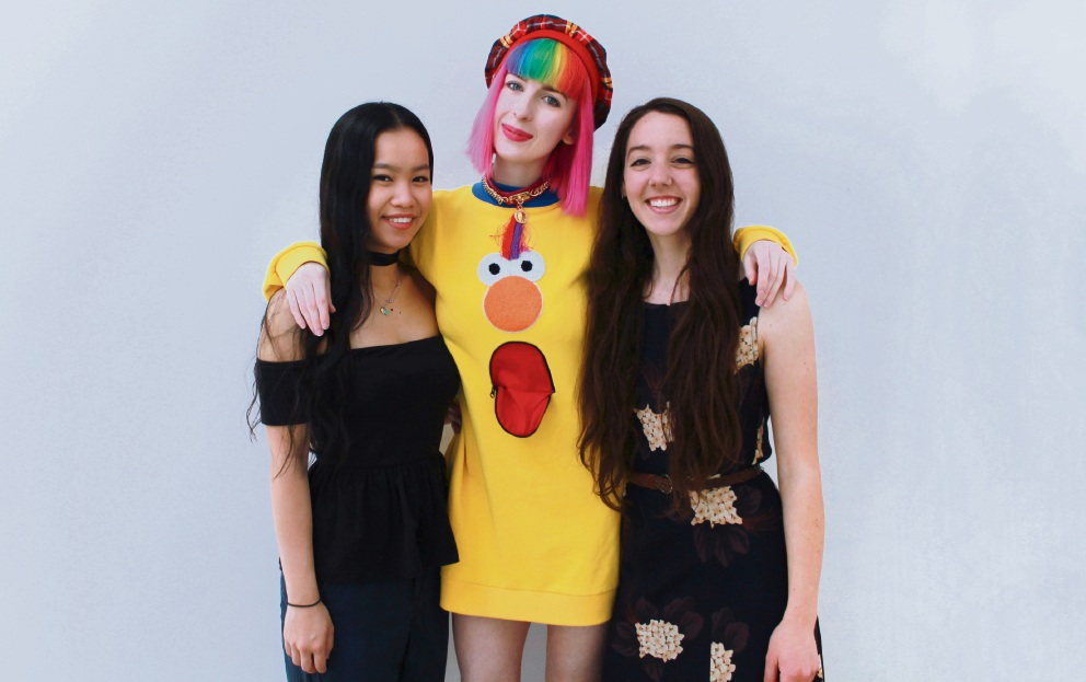 Design students Sarah Mah, Kate Hannah and Naomi Halls.