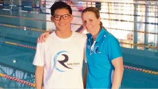 Andrew Nguyen with coach Gemma Herrington.