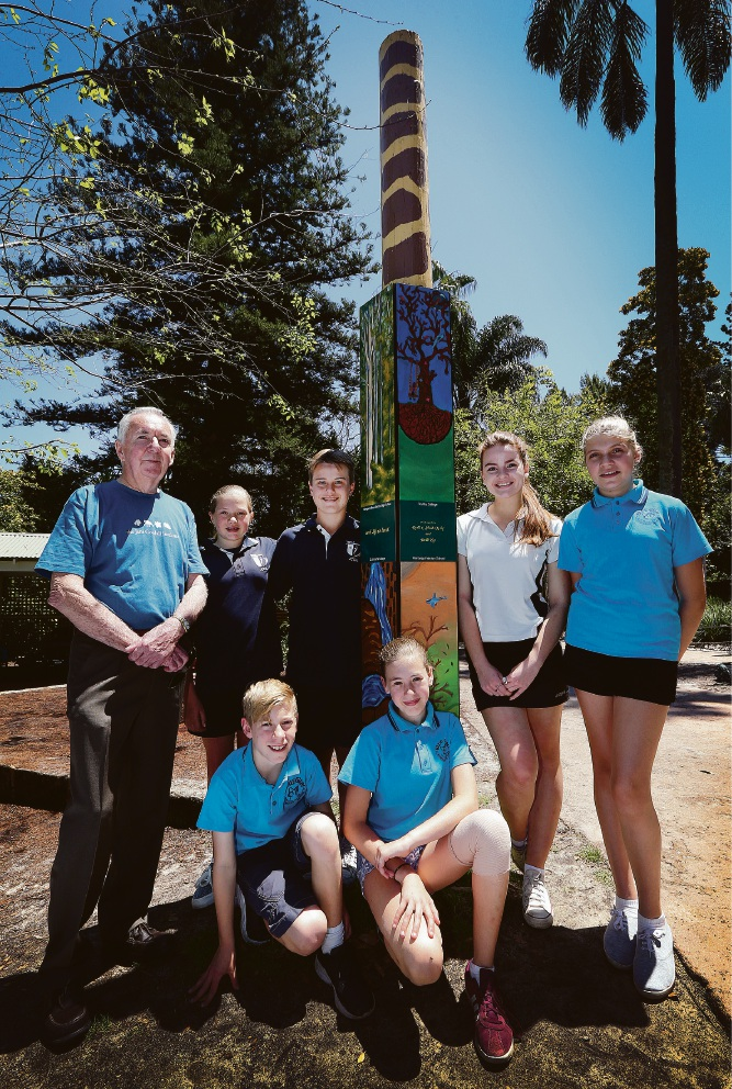 Curator Bill Waterer, John Curtin College students Lucy Jakob-Boyle and Gethim Thomas with Margaret River High School student Maeve O''Leary and Blue Gum Montessori School students Malu Stewart, (front) Fletcher Horrocks and Hannah Purdy. Picture: Matt Jelonek