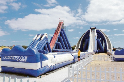 A look at some of the inflatable waterslides.