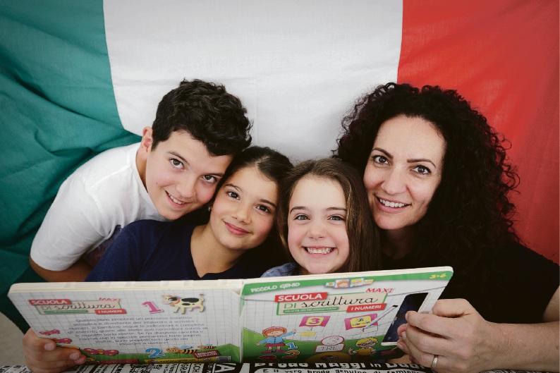 L-R Alessio Quiquero (9), Valentina Quiquero (8), Flavia Quiquero (6) and mum Tania Pietracatella, who has started a private Italian language school for kids after funding for Italian language decreased in schools.