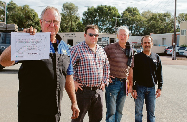 Burgay Court business owners Keith Adamson, Tony Lovegrove, Laurie Healy and Kash Bajaria. Picture: Kate Leaver