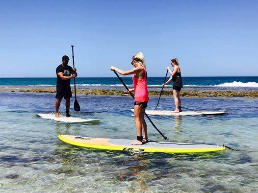 Stand-up paddle board lessons on this Sunday in Yanchep