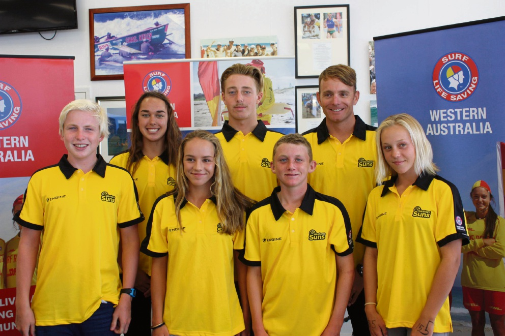 Maddie Thompson, Devon Caren, Dan Humble (Western Suns Team Captain) Front row: Lachlan Mills, Olivia Schou, Patrick Eley and Hannah Greenfield.