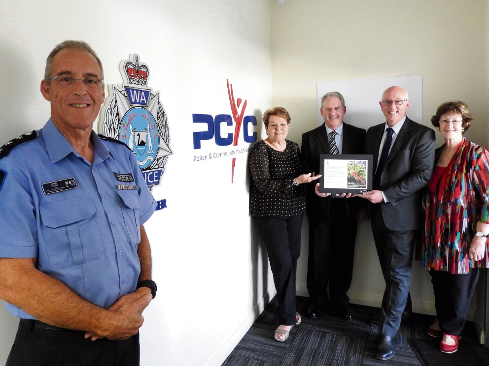 Inspector Greg Young, Western Australia Police, WA PCYC president Dr Sue Gordon, WA PCYC CEO John Gillespie, Paul Miles, Minister for Youth and Community Services and Member for Belmont Glenys Godfrey at the WA PCYC headquarters in Cloverdale.