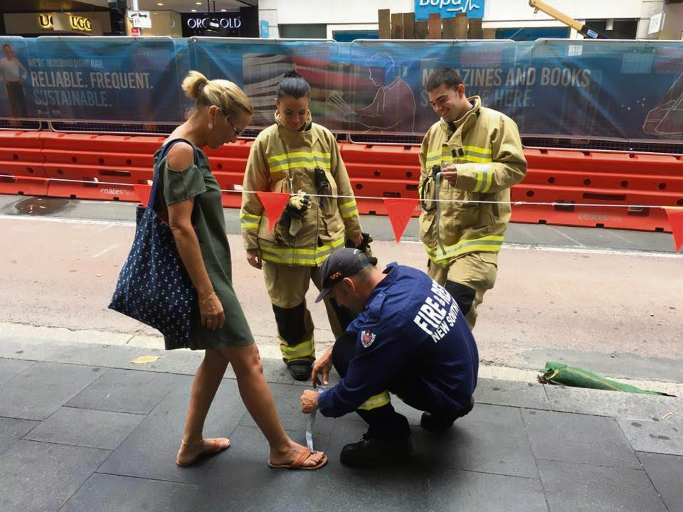Lee Sieracki was fortunate her shoe mishap happened with Sydney firefighters around.