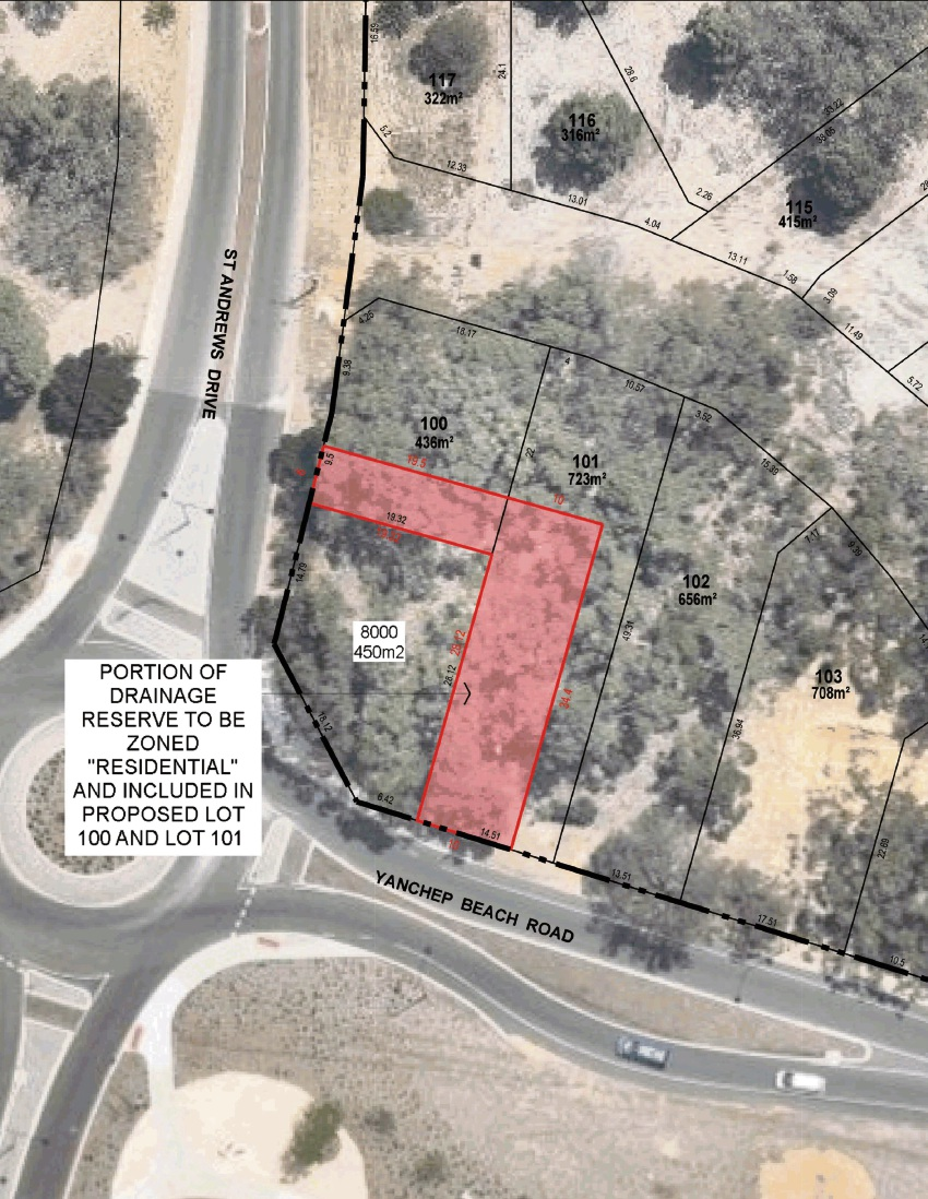 The additional area (in red) to be rezoned.