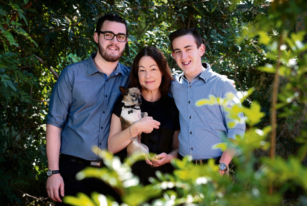 Organ donor recipient Belinda Biggs with sons Matthew Biggs (24), Alex Hazell (19) and Lilly the dog, of Woodbridge. Picture: David Baylis        www.communitypix.com.au   d462255
