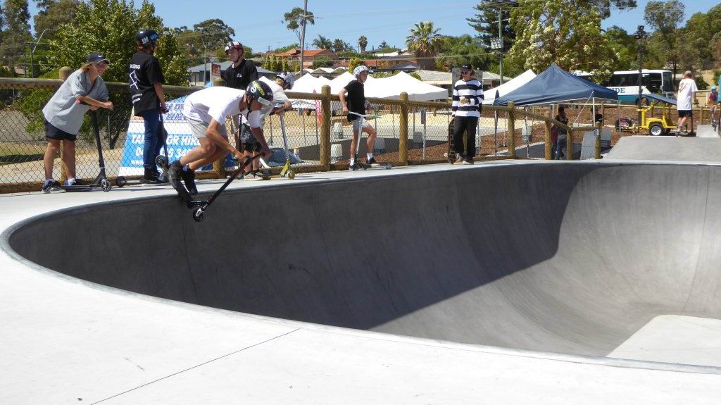 Skaters and BMX and scooter riders relished the opportunity to christen the new Wanneroo Skate Park. Picture: Gary Tate