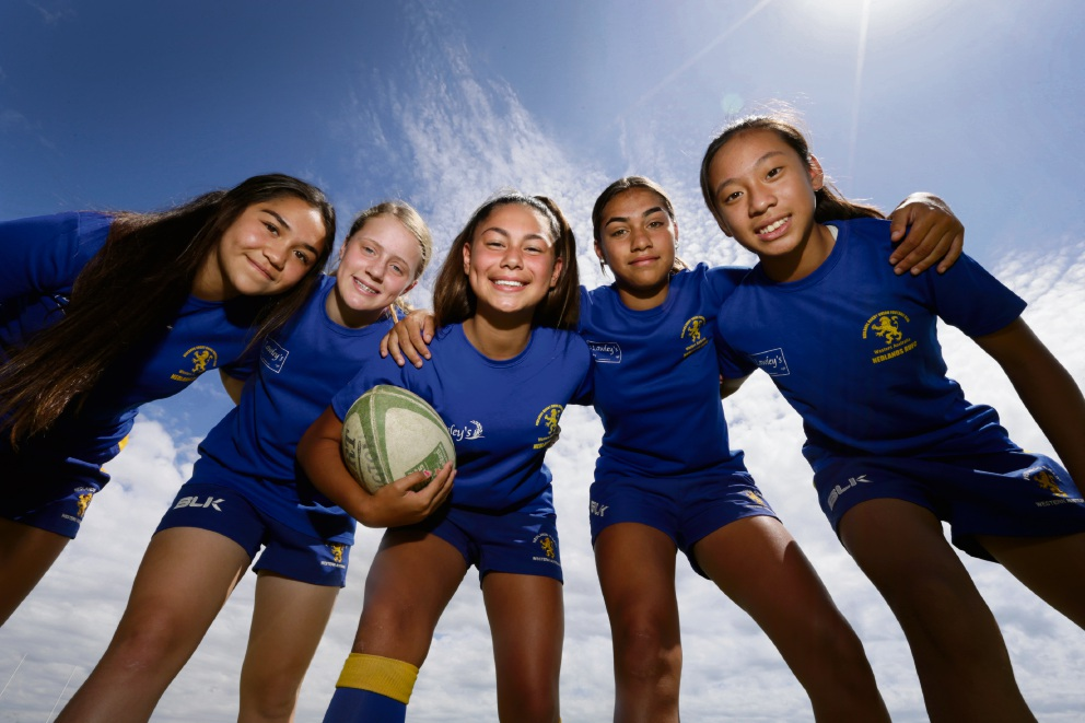 Nedlands Rugby Union Football Club juniors Ariana Ruru-Hinaki, Grace McFillin, Rueben Cherrington, Kiara Jetta and April Alan. Picture: Andrew Ritchie d464204