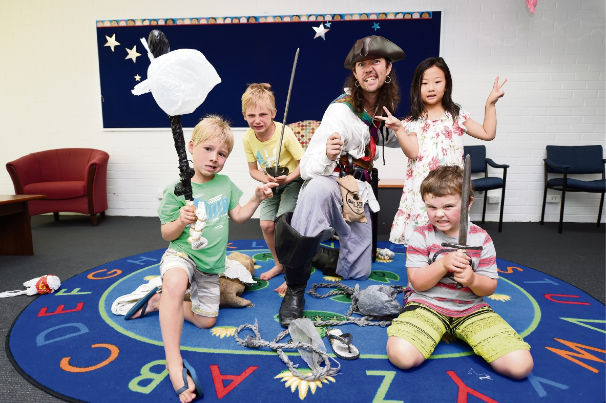 Thomas and Paul Blondeau, Captain Boots, Emma Hao and Harry Morris at the Safety Bay Library. Picture: Jon Hewson    d464246