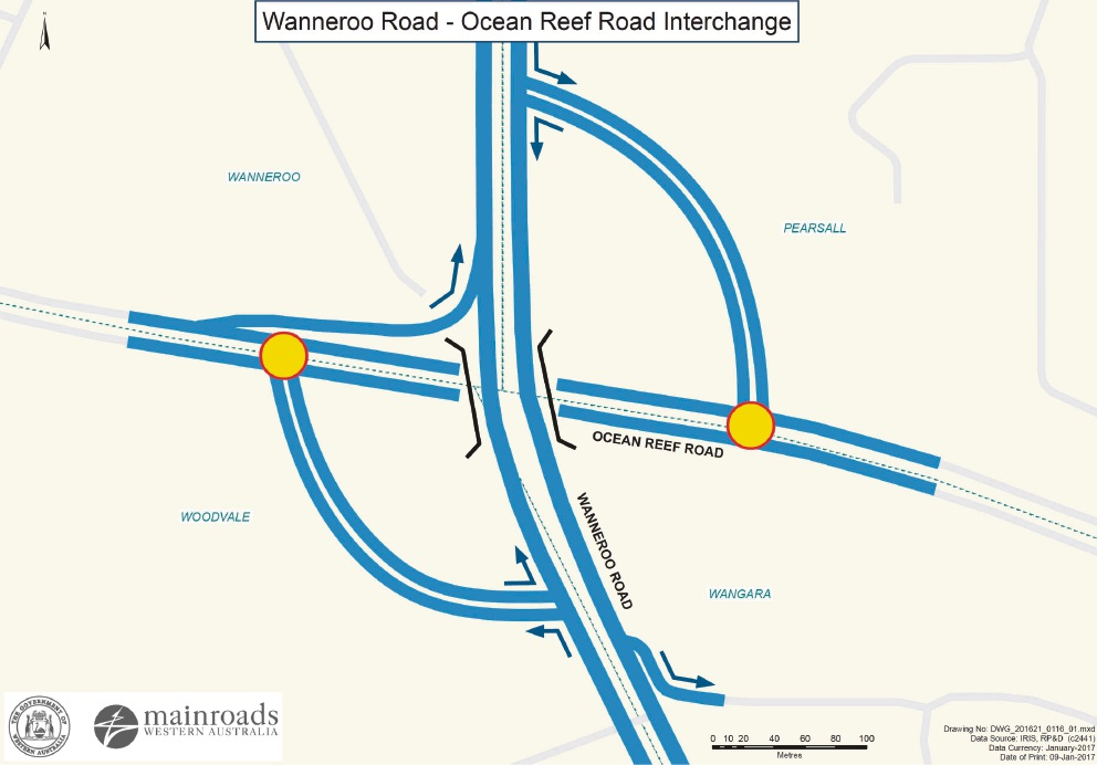 State Government's plans for the overpass at the Wanneroo and Ocean Reef roads intersection.