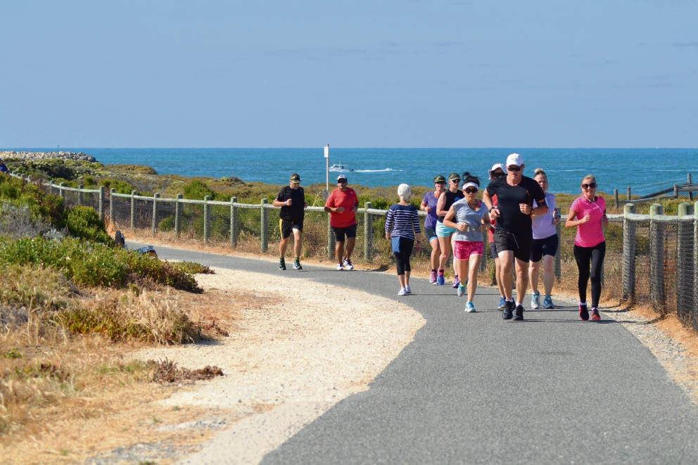Runners on the Quinns Rocks coastal course.