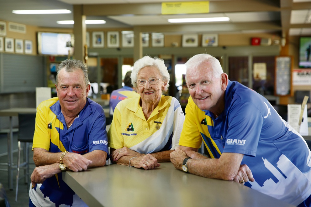 Doubleview Bowling Club members Lindsay Thorn, Dawn Cockram and Roger Barns. Picture: Andrew Ritchie        d464219 The club has been in Doubleview for 50 years.