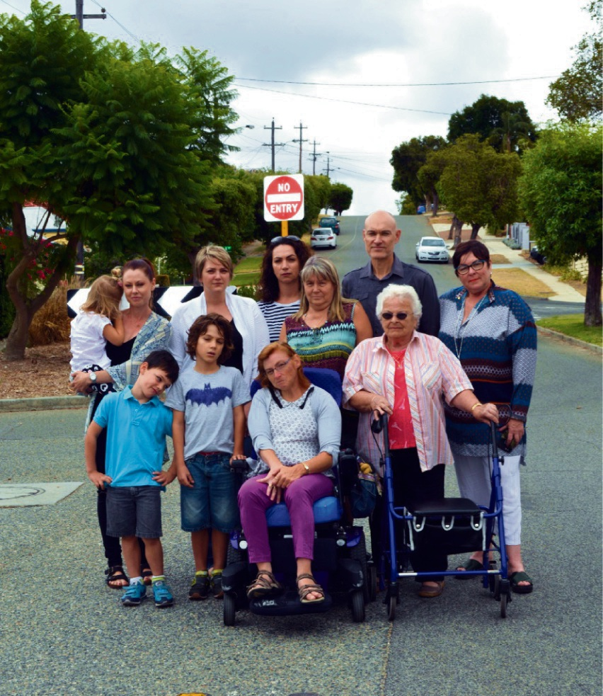 Holly and Rubi Bezic, Andrea MacRae, Bronwynne Jones, Ruth Hatch, Malcolm Dix and MLA Lisa Baker with (front) Noah and Oscar Dix-Jones, Amanda Langton and Chris Soer. Picture: Toyah Shakespeare