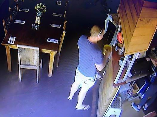 A CCTV image of one of the people Rifo's Cafe owner Hazar Kayhan believes stole the tip jar on the weekend.