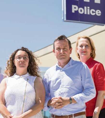 Jessica Shaw, Mark McGowan and Opposition police spokeswoman Michelle Roberts.