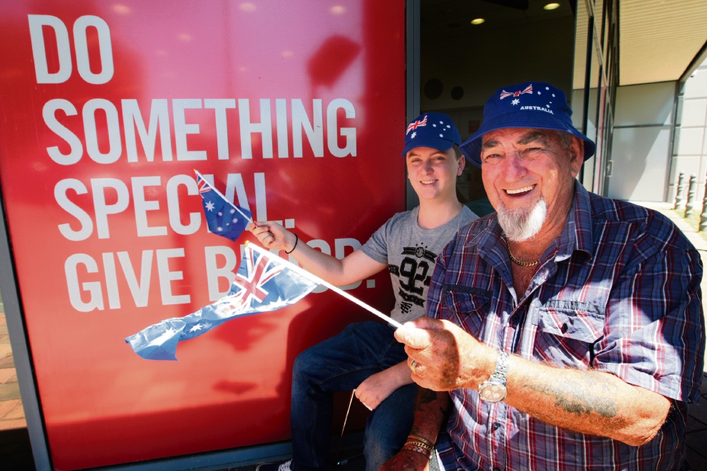 Seb Vosikis and Allan Upston are passionate about donating blood. Picture: Bruce Hunt d464184 Sebastian Vosikis (20) and Allan Upston (80) are on opposite ends of the age spectrum, but share the same commitment to blood donations.