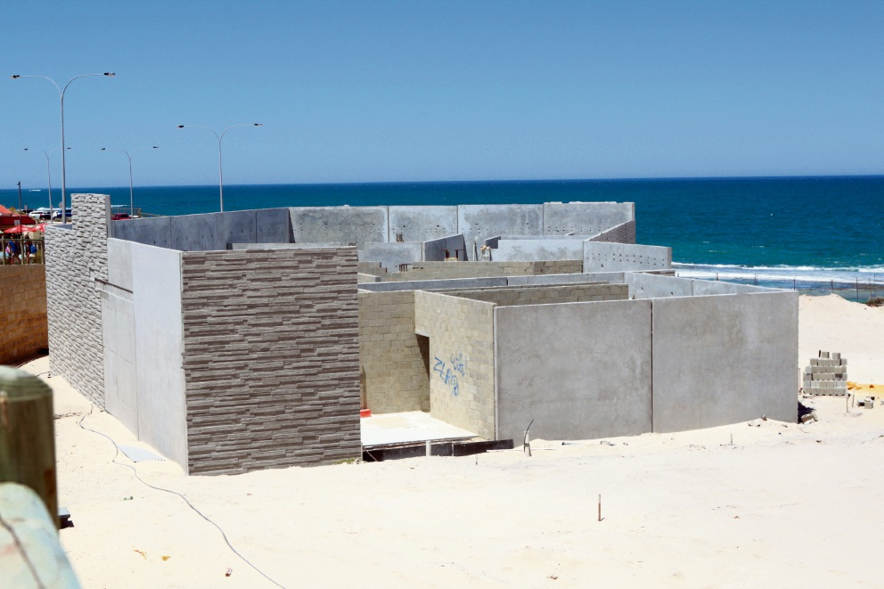 Beach shell: The unfinished Yanchep Surf Life Saving club building. Picture: Bruce Hunt d464080