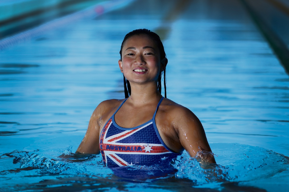 Deborah Tsai (22) is an Olympic synchronised swimmer and an Australia Day ambassador. Picture: Andrew Ritchie.