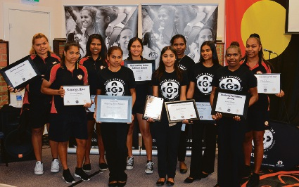 The Clontarf Aboriginal College students with their awards.