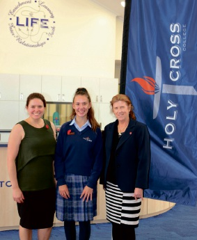 English teacher Emilie Reynolds, Caitlin McKenzie and Principal Mandy Connor.