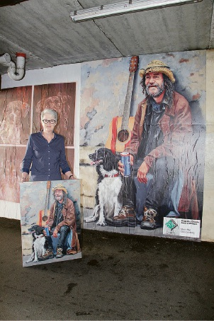 Lathlain resident Chris Goldberg was surprised at the size of the paste-up of her artwork in the underground carpark on Angelo Street in South Perth.