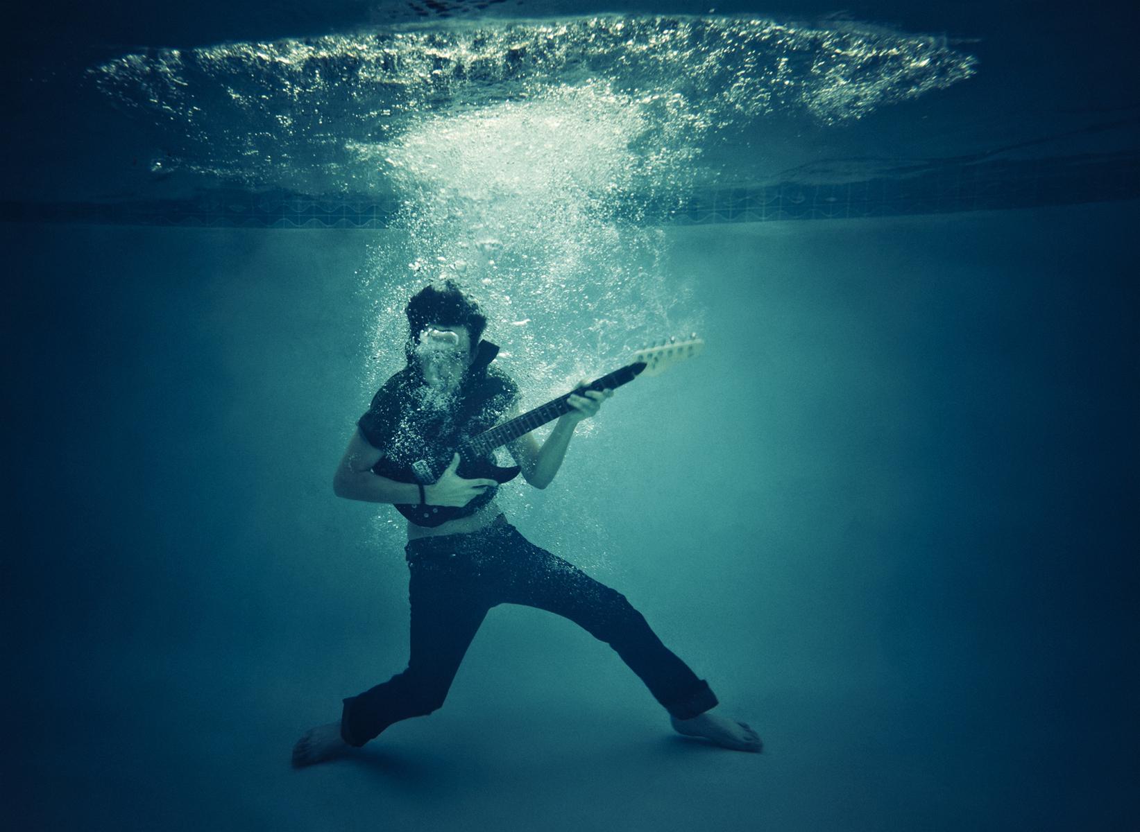 UWA researchers playing music underwater this Australia Day at Matilda Bay