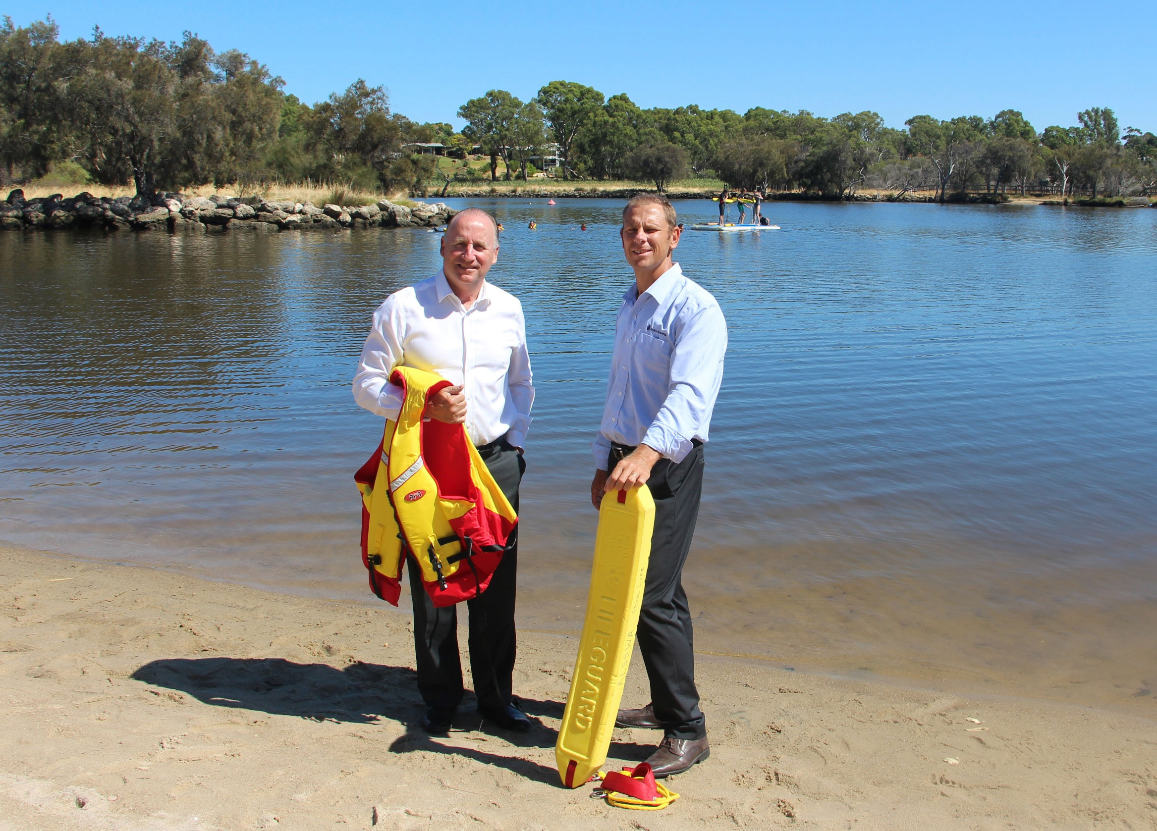 Royal Life Saving Society WA chief of operations Peter Leaversuch with Liberal Member for Swan Steve Irons at the Ascot foreshore.