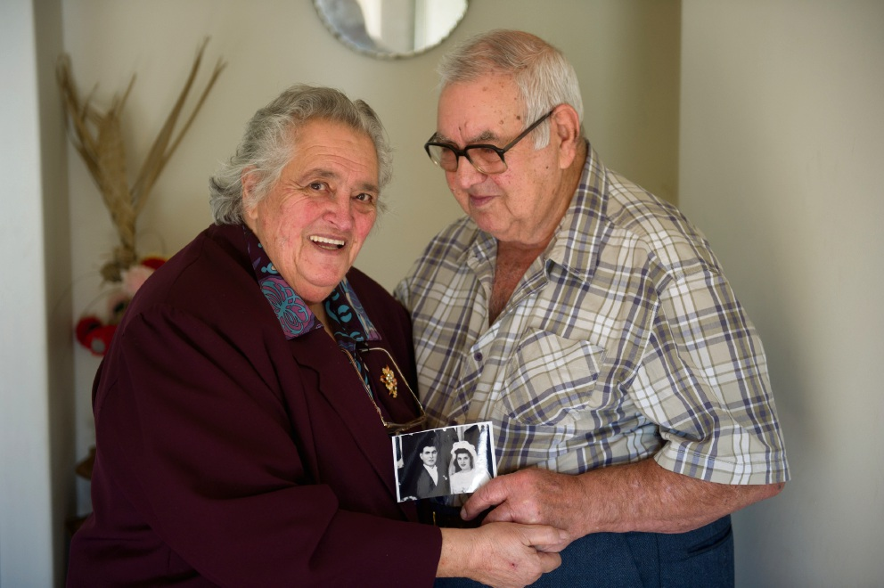 Carmela Sinagra celebrating her 65th anniversary with her husband Joe in 2014. Picture: Emma Reeves