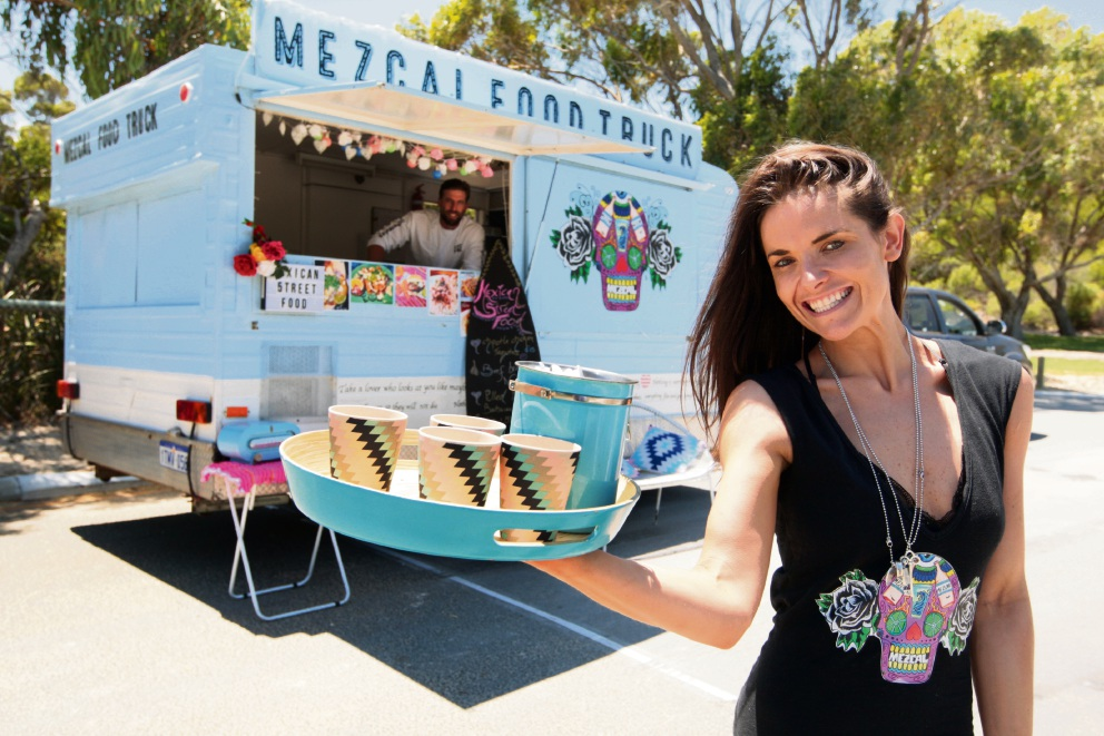 Mackenzie Corrigan and Jesse Morgan, in the van, will roll into Hillarys for TruckStop this weekend. Picture: Bruce Hunt d464460
