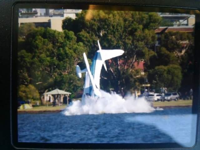 The light plane crashes into the Swan River. Picture: Danny O'Loghlen, DTM Productions.