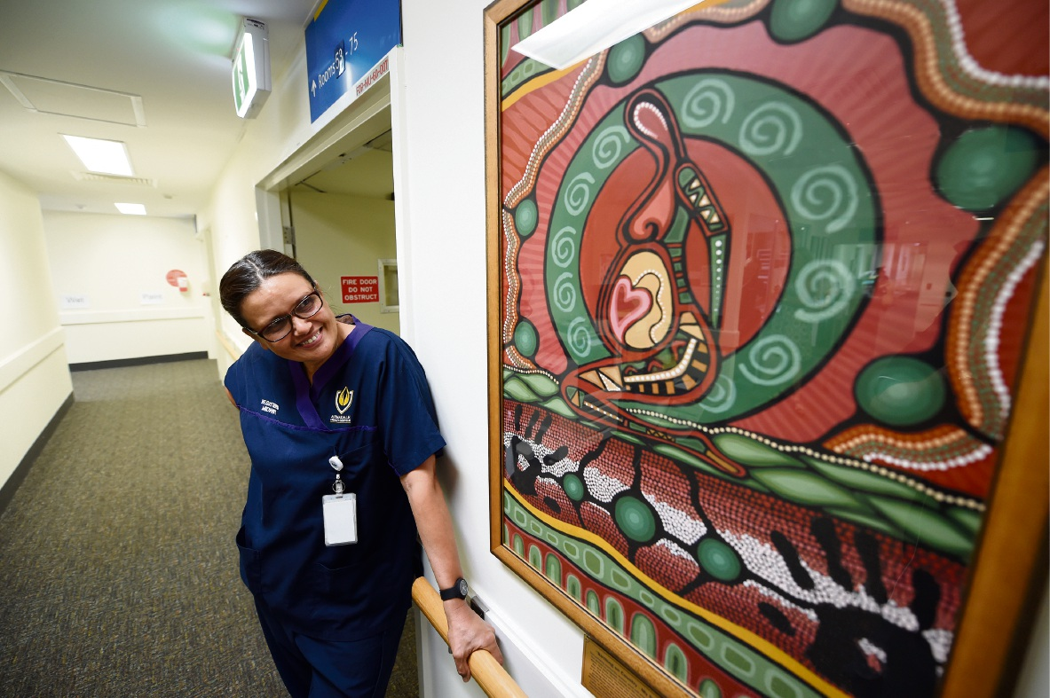 Just another accomplishment to add to her already long list: Valerie Ah Chee with the painting she did for the Armadale Hospital's maternity ward.