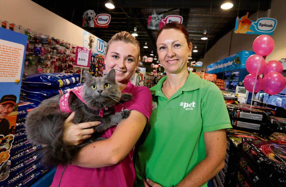 Sarah Carey, holding Ruby Tuesday, and Sheree Winter, both from PETstock in Midland, are getting ready for Pet Adoption Day. Picture: David Baylis        www.communitypix.com.au   d464387