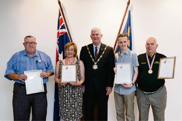 Active Citizen Award winners Alan Stewart, Coolbellup Community Association representative Rona Dean, Benjamin Gilbert and Bill Nuttall with Mayor Logan Howlett.