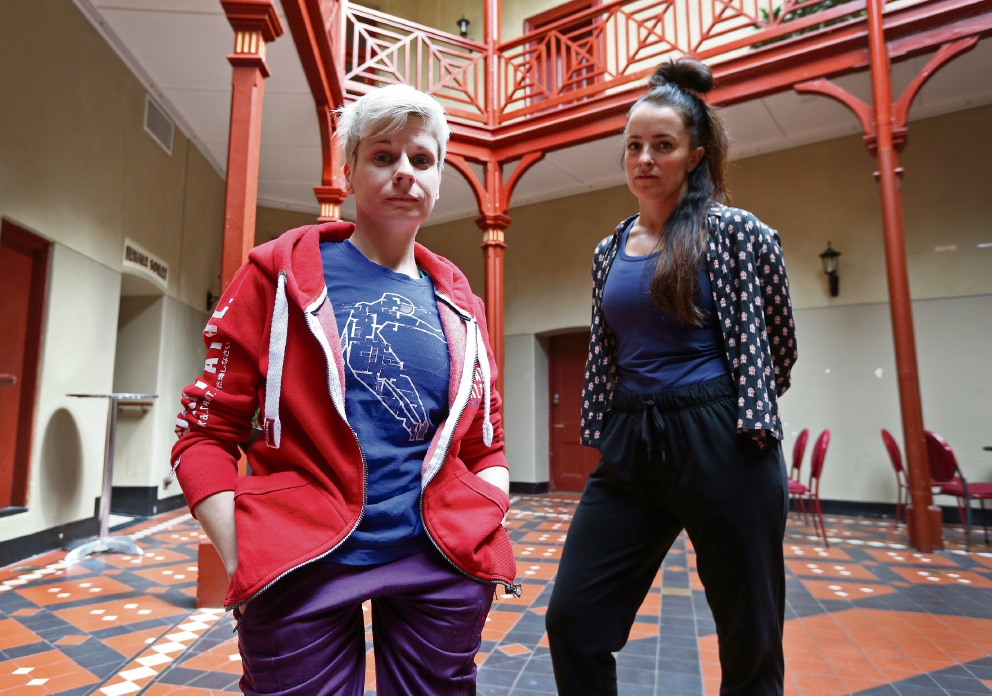 Left: PIAF artist-in-residence Claire Cunningham with dancer Laura Boynes. Above: Chairwoman of Arts Access