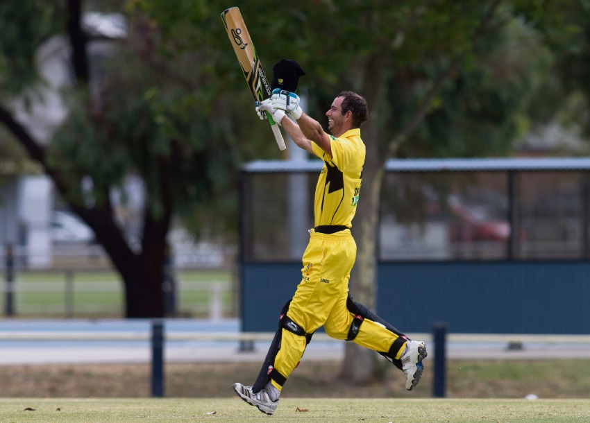 Matt Shenton celebrates after smashing an unbeaten 158 against Queensland.