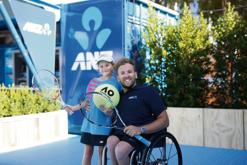 Mt Pleasant's Shayla Quin with 2016 Newcombe Medal winner Dylan Alcott at the Australian Open.