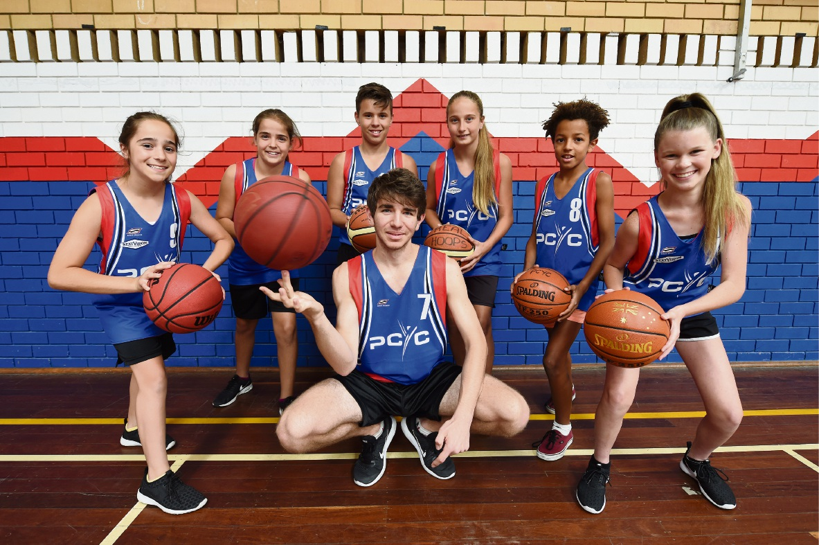 Stars of the future: Middle - Anthony Moreschi 17Back left to right: Lauren and Eva Cicanese, Jett Battista, Lily Gammidge, Simba Harvey and Hannah Gillis. Picture: Jon Hewson www.communitypix.com.au   d464141