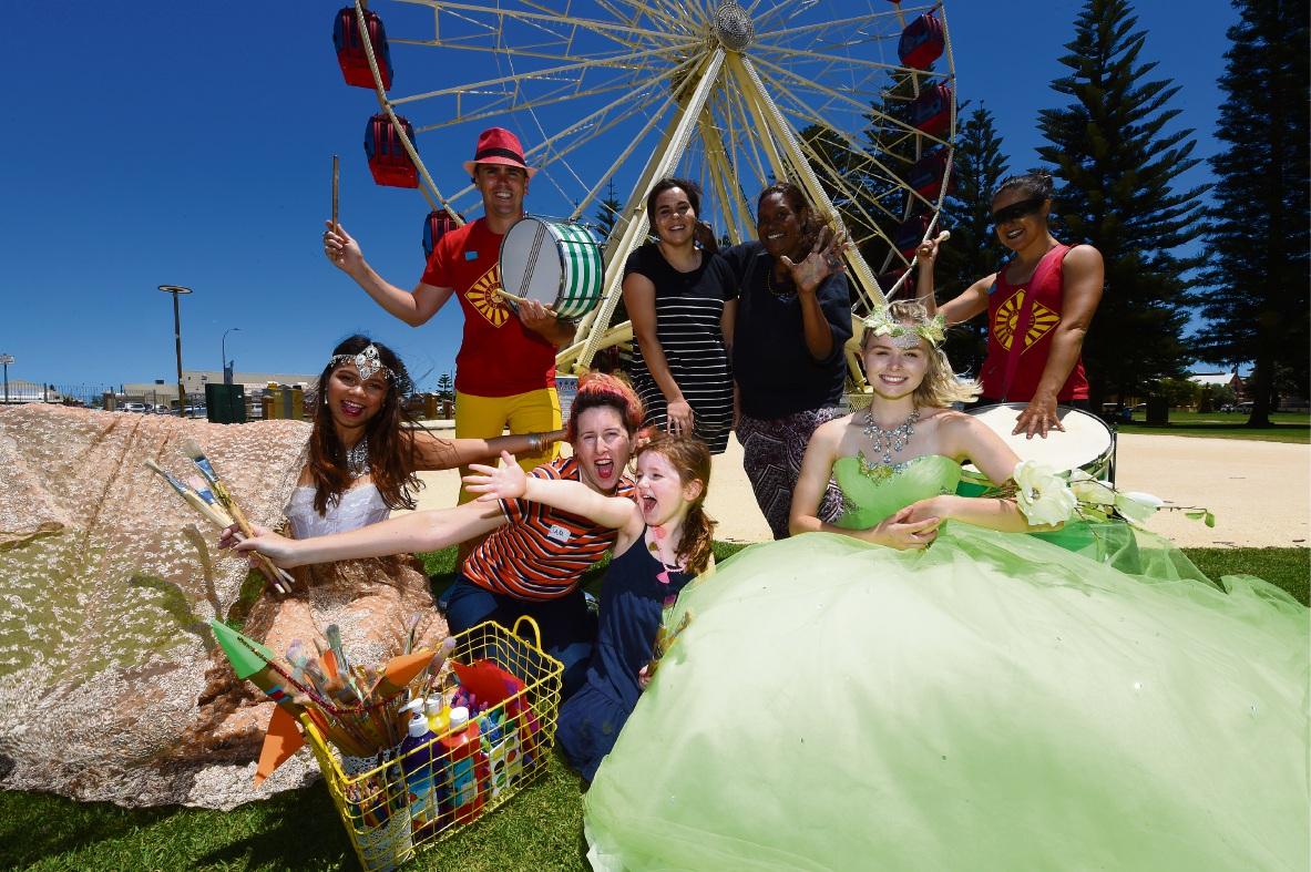 Emma Vo (Hena Fairy), Michael Boase, Sam Hughes with Alice Franzen 4, Marissa Verma and Sacha Ogilvie, Bec Lilly (Fairy Godmother) and Yamina Hofer-Boase.