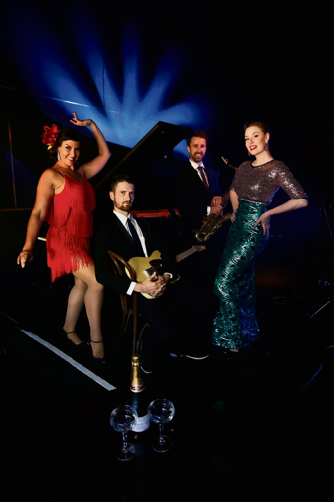 Coco Poppin (dancer), Jon Matthews (giutar), Mark Turner (sax) and Jessie Gordon (singer and dancer) perform in The Dirty Jazz Vintage Cabaret at the Ellington Jazz Club for Fringe.  Picture: Andrew Ritchie  d464089
