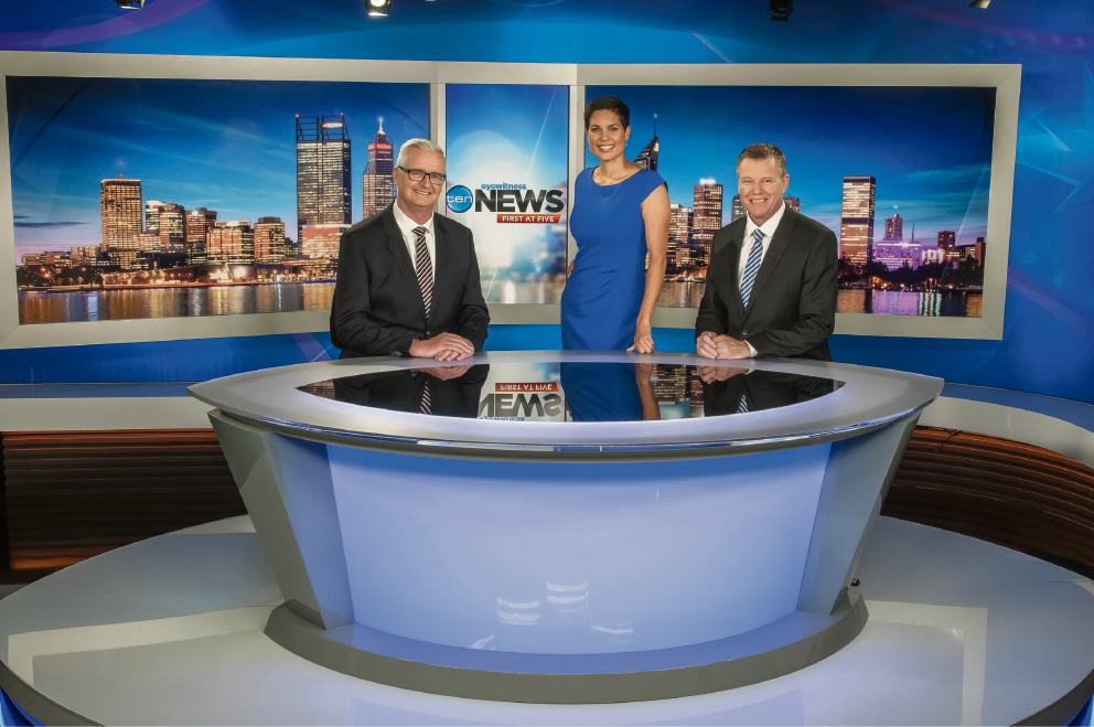 Network 10 presenters Tim Gossage, Narelda Jacobs and Michael Schultz at the new studio. Picture: Freestyle Photography