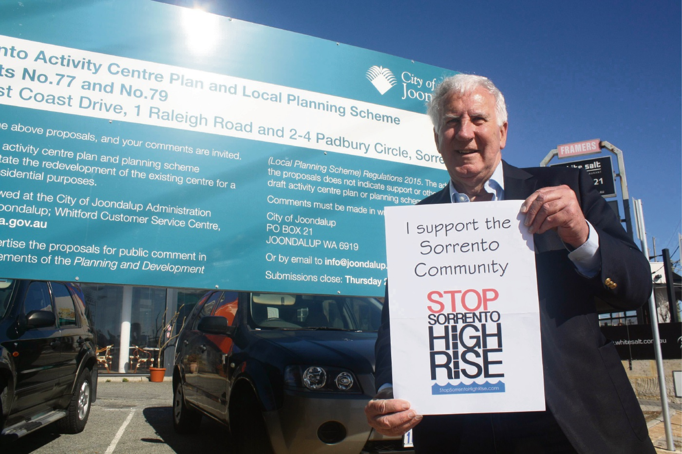 Hillarys MLA Rob Johnson is getting behind residents opposed to Sorrento Plaza.