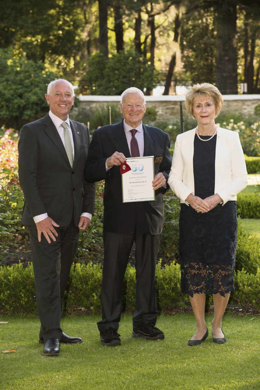 Ronald Bennett with Seniors Minister Paul Miles and WA Governor Kerry Sanderson.