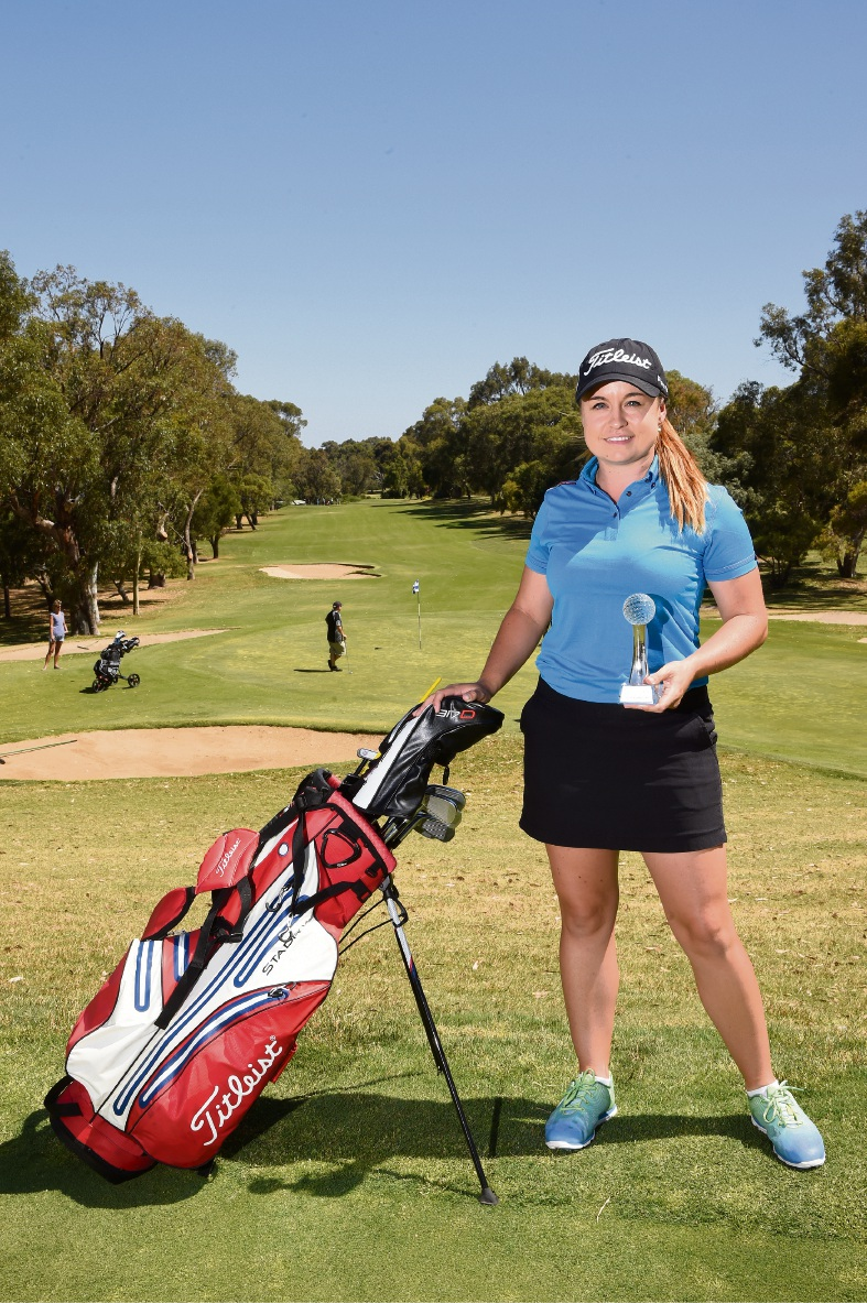 Hayley Bettencourt with the Jan Stephenson Club Car rookie of the year award at the Mandurah Country Club.