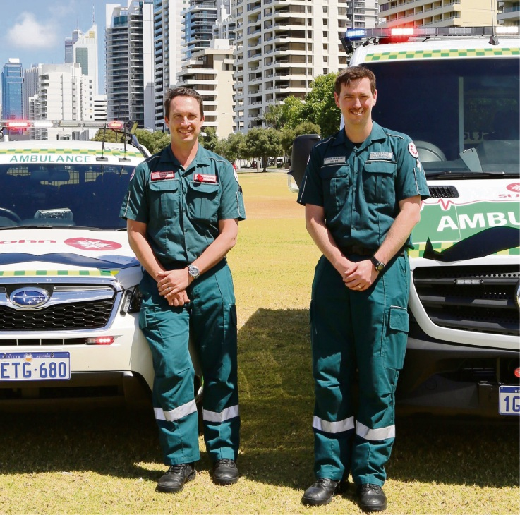 Movember champions paramedics Chris Hassett from the Kewdale depot and Matt Thomas based at Cockburn.