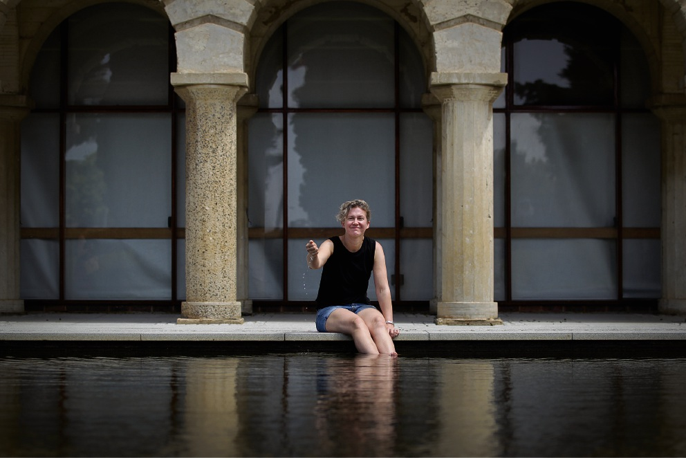 Amy Sharrocks at Reflection Pond, UWA. Picture: Andrew Ritchie