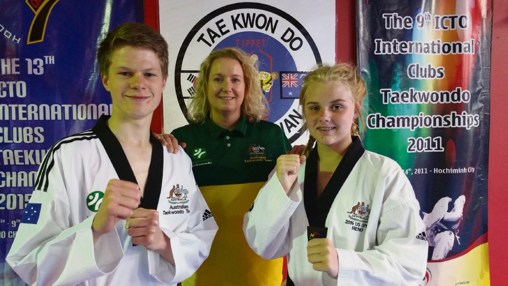 Taekwondo Oh Do Kwan master instructor Anita Tippet with Rodney Hartmann and Alana Broomer.